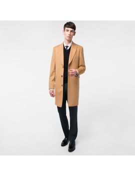 Men's Tan Wool And Cashmere Blend Peak Lapel Epsom Coat by Paul Smith