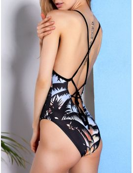 Strappy Palm Tree Print Swimsuit by Sammy Dress