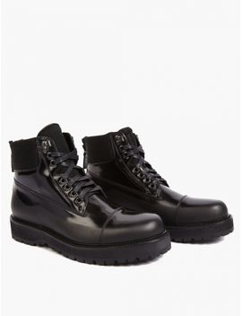 Black Rubber Coated Military Boots by Marc Jacobs