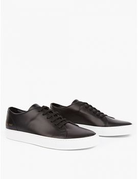 Black Low Court Leather Sneakers by Common Projects