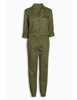 Khaki Patch Jumpsuit White Fab T Shirt Webbing Strap Across The Body Bag Textured Strap Watch by Next