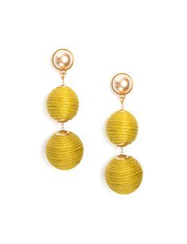 Chartreuse Triple Lantern Earrings With Pearl by Tuckernuck