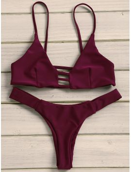 Sexy Solid Color Strappy   Bikini Set For Women by Sammy Dress