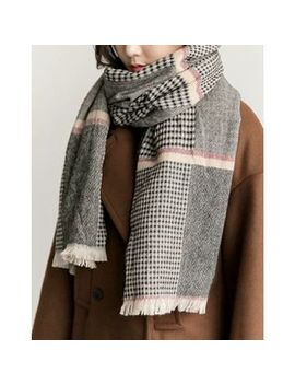 Uptownholic   Checked Knit Scarf by Brand From South Korea