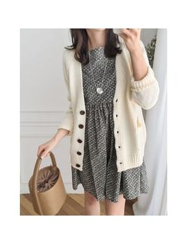 Uptownholic   V Neck Cardigan by Brand From South Korea