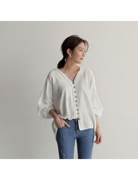 Uptownholic   3/4 Sleeve Button Detail Blouse by Brand From South Korea