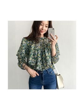 Uptownholic   Frilled Trim Floral Print Top by Brand From South Korea