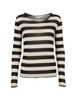 Top Ariel Stripe Black/Sand by Basic Apparel