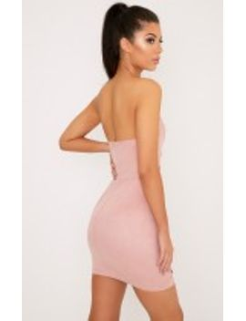 PRETTYLITTLETHING Kianah Faux Suede Eyelet Detail Bandeau Bodycon Dress