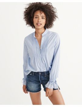 Eyelet Sleeve Poplin Shirt by Abercrombie & Fitch