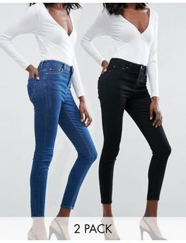 asos-design-ridley-skinny-jeans-2-pack-in-black-and-mid-blue-wash-save-16% by asos-design