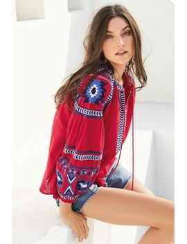 Embroidered Long Sleeve Top Denim Blue Panel Shorts Silver Tone Circle Drop Earrings Brown Tooled Slingback Wedges by Next