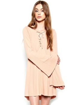 Michael Lauren Jimi Lace Up Bell Sleeve Dress In Fawn by Michael Lauren