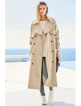 Oversized Trench Jacket Bow Shoulder Top Grey Panelled Skinny Trousers Baseball Trainers by Next