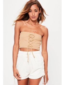 1be9e6b942 camel-lace-up-detail-ribbed-bandeau-bralet by missguided