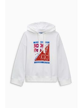 White Oversized Graphic Hoody by Next