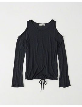 Tie Hem Cold Shoulder Tee by Abercrombie & Fitch