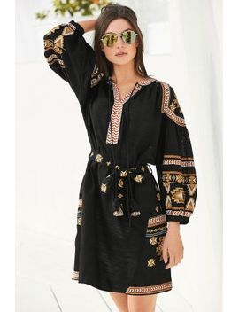 Black Embroidered Long Sleeve Dress Gold Aviator Style Flat Lens Sunglasses Brown Tooled Slingback Wedges by Next