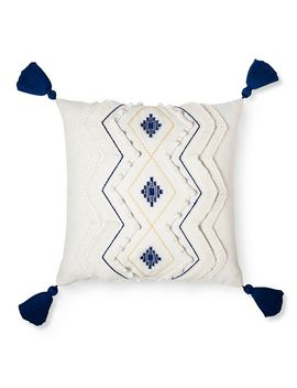 Cream Diamond Throw Pillow With Tassels   Threshold™ by Shop Collections