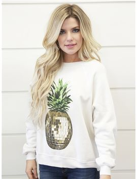 Wildfox Sommers Party Pineapple Sweater In Alabaster by Wildfox