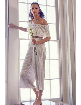 Oh My Love Metallic Accordion Pleat Off The Shoulder Set by Urban Outfitters