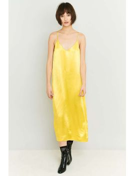 Pins & Needles Yellow Satin Midi Slip Dress by Urban Outfitters