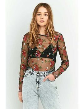 Pins & Needles Sheer Embroidery Crop Top by Urban Outfitters