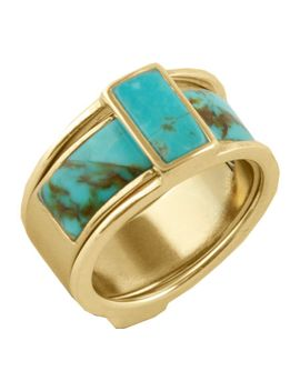 Barse Genuine Turquoise Ring Bfflr03 T01 (2 Piece) (Women's) by Barse