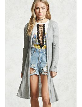 Shoptagr | Wide Ribbed Longline Cardigan by Forever 21