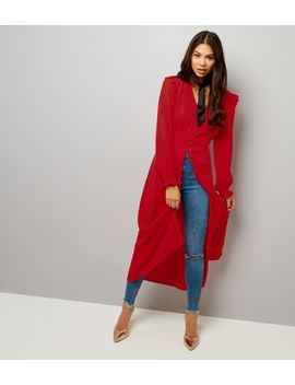 Button Front Midi Dress - Red New Look