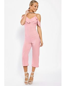 catie-beige-zip-front-belted-utility-jumpsuit by in-the-style