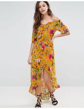 boohoo-hi-low-hem-printed-bardot-maxi-dress by boohoo