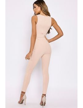 stone-ribbed-tie-waist-jumpsuit by in-the-style