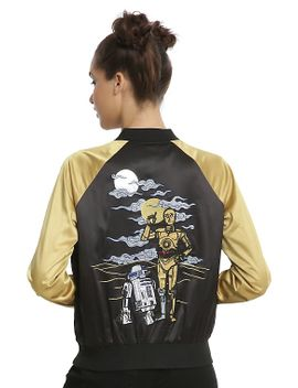 her-universe-star-wars-c-3po-&-r2-d2-embroidered-girls-satin-souvenir-jacket by hot-topic