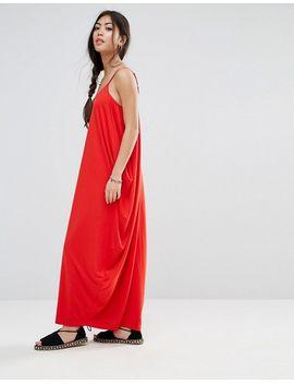 Drape Hareem Maxi Dress - Red Asos
