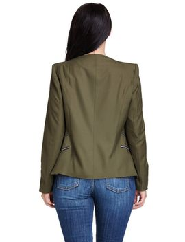 Army Green Padded Shoulder Draped Blazer by Lookbook Store