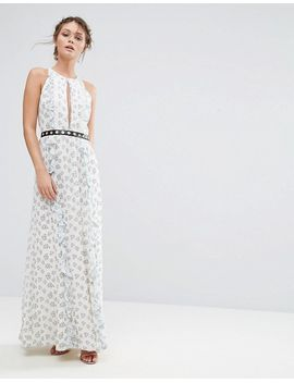 Printed Maxi Dress With Eyelet Detail Waist - White ditsy floral True Decadence