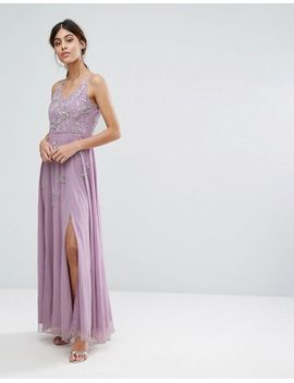 Cami Maxi Dress with Star Embellishment and Split - Lavender Frock and Frill