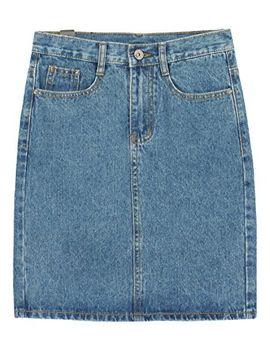 chouyatou-womens-basic-five-pocket-rugged-wear-denim-skirt-with-slit by chouyatou