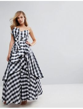 Bardot Maxi Prom Dresswith Tie Bow Front - Gingham Fame & Partners