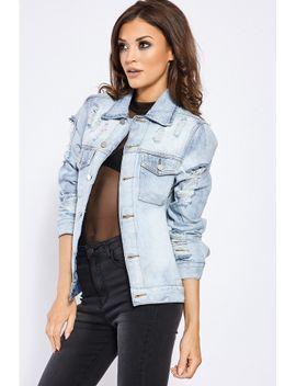 85fd3145d0b6 Shoptagr   Heidey Light Wash Distressed Denim Jacket by In The Style