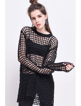 Frs Black Grid Hollow Out Sweater by Designer