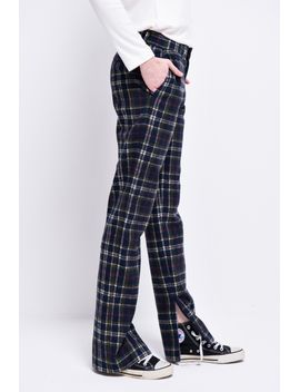 Frs Plaid Side Slit Pants by Designer