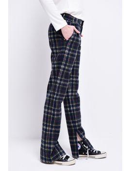 Frs Plaid Side Slit Pants by Designer