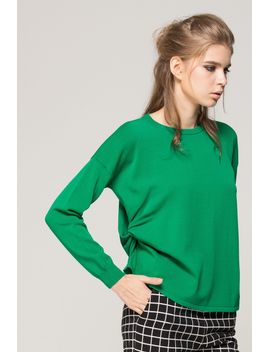 Asymmetric Round Neck Sweater by Designer