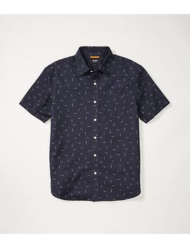 Slub Print Linen Blend Short Sleeve Shirt by Jack Spade