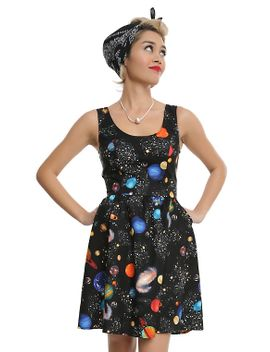 bright-planets-fit-&-flare-dress by hot-topic
