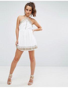 Embellished Swing Dress - White Prettylittlething