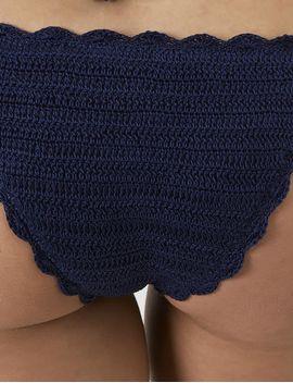 Navy Crochet Tie Side Bikini Bottoms by Anna Kosturova