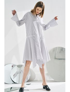 Frs Detachable Pinstripe Shirt Dress by Designer